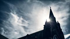 Old Rustic Gothic Catholic Church HDR Time Lapse Stock Footage