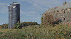 Country Farm Barn with silo stacks - stock footage