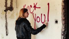 With red spray paint on the wall writes a message 'fuck you'. Stock Footage