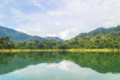 rain forest at kenyir lake, malaysia - stock photo