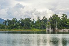 Beautiful limestone mountain with reflection Stock Photos