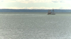 Large fishing boat on water Stock Footage