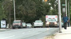 Ambulance with lights flashing (1 of 3) - stock footage