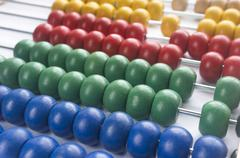 Close up wooden abacus with selective focus Stock Photos