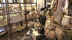 Woman examining pocketbook in antique store (1 of 4) Stock Footage