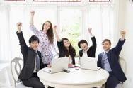 Stock Photo of Excited businesspeople