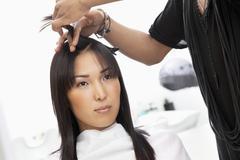 Stock Photo of Young woman having haircut at beauty salon