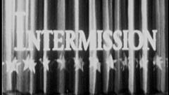 INTERMISSION 8mm Vintage Old Film Title Graphic Break Stage Curtain Leader 7022 Stock Footage