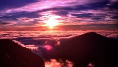 Brilliant dawn, sun rising over mountain range time lapse - stock footage