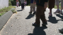 Preschool aged children walking along path (5 of 5) Stock Footage