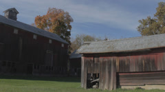Old wooden Red Barns with Out building Stock Footage