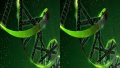 Binary Digital Helix - Stereoscopic 3D Stock Footage
