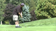 Stock Video Footage of Golfer prepares to putt ball