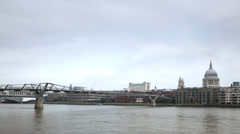 Millennium Bridge, London, timelapse at day Stock Footage
