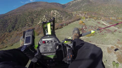 Flying ultralight aircraft towards high mountain Autumn fun aerial shot HD 0165 Stock Footage