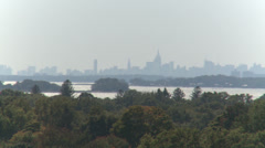 View of Manhattan skyline from Stamford (2 of 3) Stock Footage