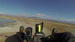 Flying ultralight airplane rural lake farms aerial shot POV HD 0166 Stock Footage