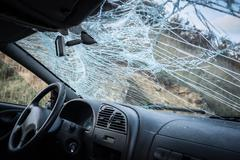 Broken Windshield-Car Crash - stock photo