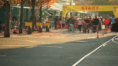 Stock Video Footage of vancouver b.c. canada - oct 14 2013 turkey trot 10k race, stroller division.