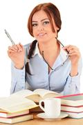 Young woman reading a book. female student learning. Stock Photos
