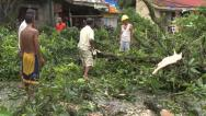Stock Video Footage of Hurricane Aftermath Cleaning Up Debris
