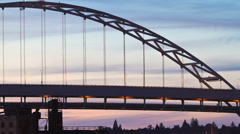 Portland Bridges Traffic Time Lapse Stock Footage
