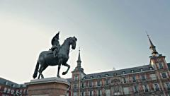 Monument rider on a horse in Madrid - stock footage