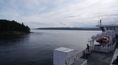 BC Ferry Between Mayne and Galiano Islands Time Lapse Stock Footage