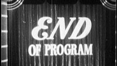 END OF PROGRAM Vintage Old Film Title Show Curtain Presentation Graphic 7034 Stock Footage