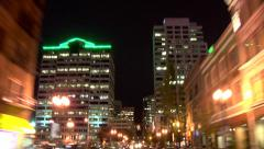 Portland City Driving Night Rear View Stock Footage
