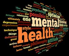 Mental health in word tag cloud Stock Illustration