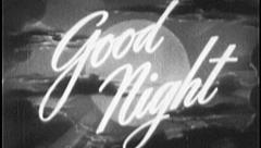 GOOD NIGHT Bedtime Sleep Vintage Old Film Title Finish End Graphic Leader 7033 Stock Footage