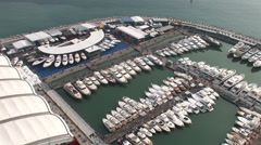 Aerial view of Genoa Boat Show Stock Footage
