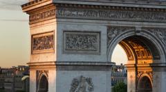 Arc du triomphe closeup, paris france 4k Stock Footage