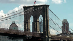 New York 351 Manhattan, Brooklyn Bridge Pillar and Steel Construction Stock Footage