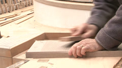 Man sanding wood Stock Footage