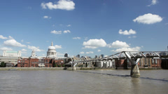 Time lapse of the Millennium Bridge in London with St. Paul's Cathedral - stock footage