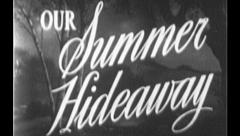 OUR SUMMER HIDEAWAY Vintage Old Film Title Graphic Leader 8mm 7035 - stock footage