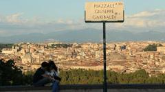 Garibaldi view in Rome Stock Footage