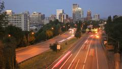 Portland Cityscape Time Lapse Highway 26 Stock Footage