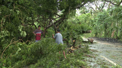 Hurricane Aftermath Cleaning Up Debris - stock footage