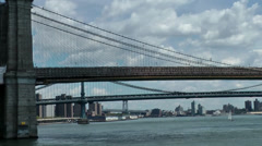 New York 356 Manhattan East River, three Bridges one behind the other Stock Footage