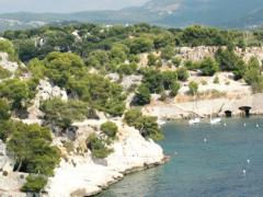 Pan shot over beautiful Cassis cliffs in France NTSC - stock footage