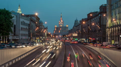 Traffic on the Garden Ring in Moscow Stock Footage