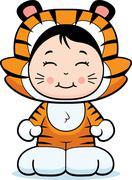 Girl Tiger Stock Illustration