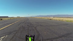 Ultralight aircraft takeoff runway POV HD 0170 Stock Footage