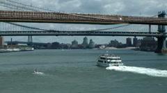 New York 364 ferryboat under east river bridges Stock Footage