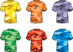 Stock Illustration of Colored Camouflage Shirts