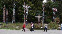 Stanley Park Totem Poles Stock Footage