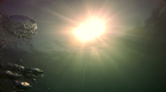 Underwater bubbles and sun Stock Footage
